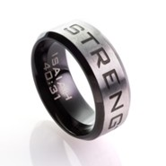 Strength, Men's Stainless Steel Ring, Size 10