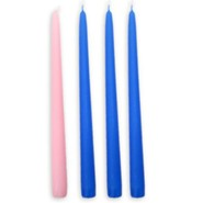 Advent Candles, 7/8 x 12, Set of 4 with Blue