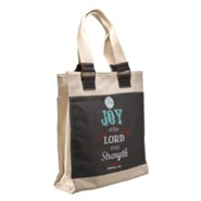 Joy, Retro Canvas Tote Bag