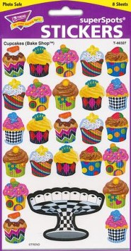 Cupcakes Bake Shop Super Shape Stickers