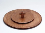 Antique Maple Finish Wood Communion Tray Lid with Cross