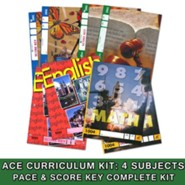 ACE 24-Week (4 Subjects), Single Student Complete PACE & Score Key Kit, Grade 1, 3rd Edition (with 4th Edition Science & Social Studies)