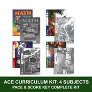 ACE Core Curriculum (4 Subjects), Single Student Complete PACE & Score Key Kit, Grade 4, 3rd Edition (with 4th Edition English, Science & Social Studies)