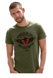 Forged In His Strength Shirt, Green, X-Large