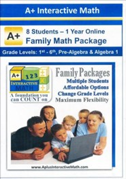 A+ Interactive 1 Year Online Math Family Package (8 Students)