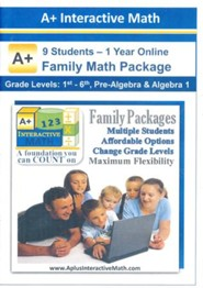 A+ Interactive 1 Year Online Math Family Package (9 Students)