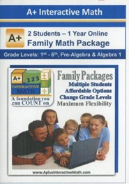 A+ Interactive 1 Year Online Math Family Package (2 Students)