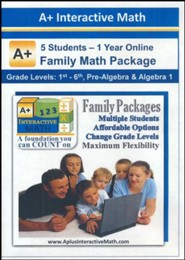 A+ Interactive 1 Year Online Math Family Package (5 Students)
