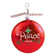 Peace, Glass Ornament with Swirl, Luke 2:14