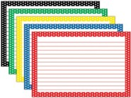 Border Index Cards - 4 x 6 Lined Assorted Polka Dots, Pack of 75