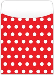 Peel & Stick Book Pockets: Red Polka Dots, Pack of 25