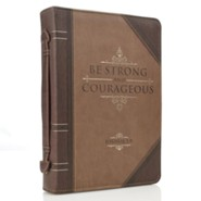 Strong and Courageous Bible Cover, Brown, Medium