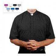 Men's Short Sleeve Clergy Shirt with Tab Collar: Black, Size 19.5