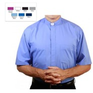 Men's Short Sleeve Clergy Shirt with Tab Collar: Medium Blue, Size 15