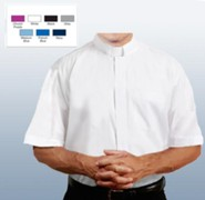 Men's Short Sleeve Clergy Shirt with Tab Collar: White, Size 14.5