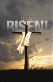 He Is Risen Bright Cross (Matthew 28:6) Large Bulletins, 100