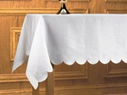 Linen Alpha & Omega Altar Frontal, Scalloped Edgee