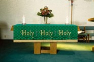 Maltese Jacquard Altar Frontal, Green (Holy, Holy, Holy)