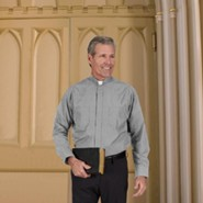 Men's Long Sleeve Clergy Shirt with Tab Collar: Gray, Size 14.5 x 36/37
