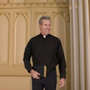 Men's Long Sleeve Clergy Shirt with Tab Collar: Black, Size 17.5 x 34/35
