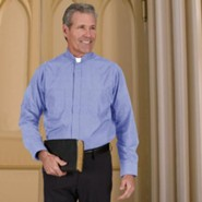 Men's Long Sleeve Clergy Shirt with Tab Collar: Medium Blue, Size 15 x 32/33