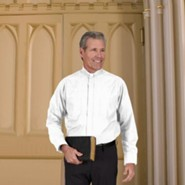 Men's Long Sleeve Clergy Shirt with Tab Collar: White, Size 15 x 32/33