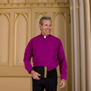 Men's Long Sleeve Clergy Shirt with Tab Collar: Church Purple, Size 18 x 36/37