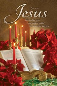 Christmas--Poinsettia, Bible, Candles Bulletins, 100