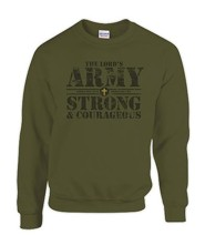Lord's Army, Strong and Courageous Sweatshirt, Green, XX-Large