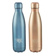 Mr. & Mrs., Stainless Steel Water Bottles, Set of 2, Blue and Copper