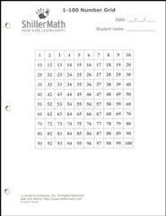 ShillerMath 24-Page 1-100 Number Grid Worksheets Pad