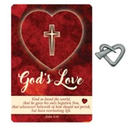 God's Love Heart Nail Lapel Pin with Inspirational Card