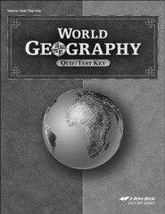 Abeka World Geography Quizzes/Tests Key