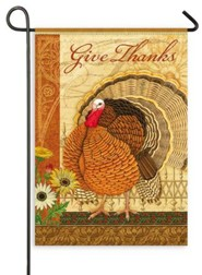 Give Thanks, Elegant Turkey, Flag, Small