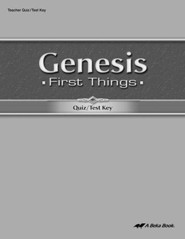 Abeka Genesis: First Things Quizzes & Tests Key