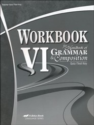 Abeka Workbook VI for Handbook of Grammar & Composition  Quiz/Test Key