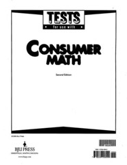 BJU Consumer Math Tests. (Second Edition) Grades 11 to 12
