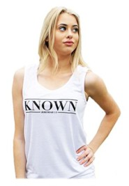 Known Tank Top for Women, White and Black, Extra Small