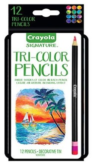 Crayola, Tri-Color Pencils with Tin, 12 Pieces