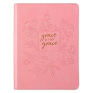 Grace Upon Grace Journal, Lux Leather, Pink