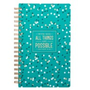With God All Things Are Possible Wirebound Journal, Lux Leather, Teal with Confetti Design