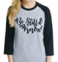 Be Still and Know Baseball Shirt, Grey and Black, X-Large