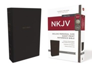 NKJV Comfort Print Deluxe Reference Bible, Personal Size Giant Print, Imitation Leather, Black