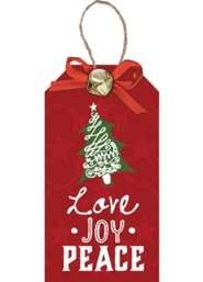 Love Joy Peace, Christmas Tag Ornament