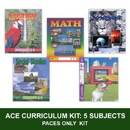 ACE Comprehensive Curriculum (5 Subjects), Single Student PACEs Only Kit, Grade 9, 3rd Edition (with 4th Edition World  Geography)