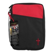 Canvas Bible Cover and Firefighter's Prayer Bookmark with Tassel, Black and Red, Large