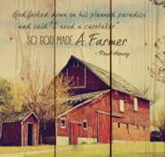God Made a Farmer, Striped Rustic Wall Art