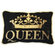 Queen Pillow, Small, Black and Gold
