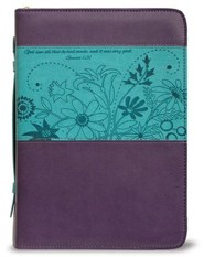 God Saw All That He Had Made Bible Cover, Purple and Teal, Medium