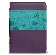 God Saw All That He Had Made Bible Cover, Purple and Teal, Large